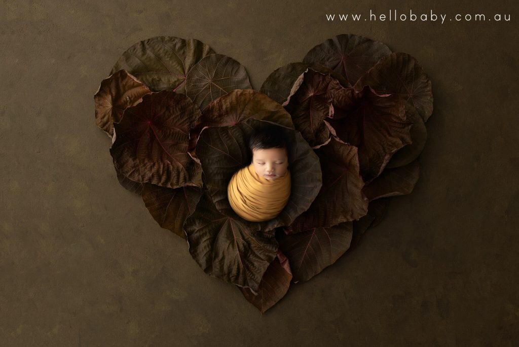 A newborn baby wrapped in a lovely mustard coloured scarf placed on a nest of autumn leaves sleeping peacefully